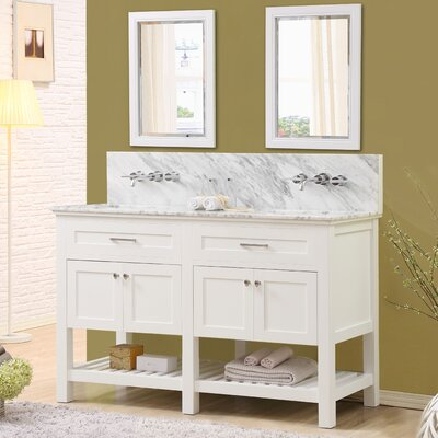 Fairfield 60 Double Bathroom Vanity Set with Mirrors Top Finish: White Carrara Marble