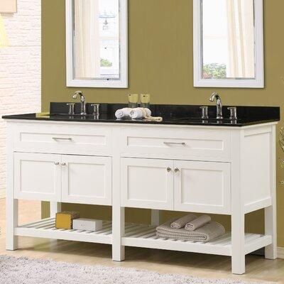 Ferdinand 70 Double Bathroom Vanity Set Top Finish: Black Granite