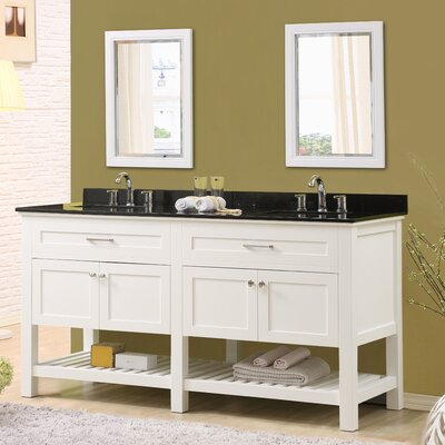 Ferdinand 70 Double Bathroom Vanity Set with Mirrors Top Finish: Black Granite