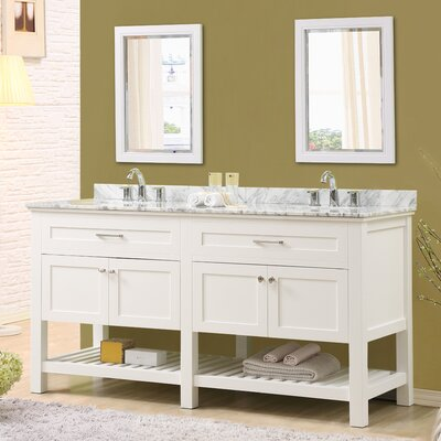 Ferdinand 70 Double Bathroom Vanity Set with Mirrors Top Finish: White Carrara Marble