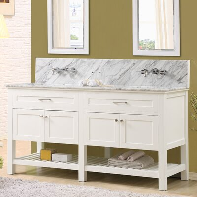 Fairfield 70 Double Bathroom Vanity Set Top Finish: White Carrara Marble