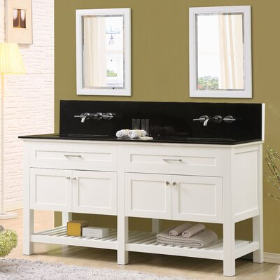 Fairfield 70 Double Bathroom Vanity Set with Mirrors Top Finish: Black Granite