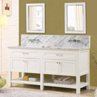 Fairfield 70 Double Bathroom Vanity Set with Mirrors Top Finish: White Carrara Marble