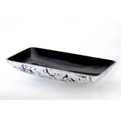 Nek Lux Rectangular Vessel Bathroom Sink Sink Finish: Black Silver