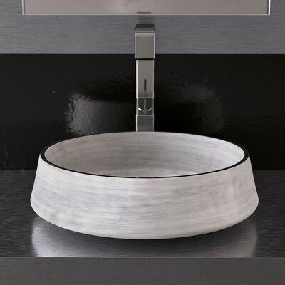 Exte Circular Vessel Bathroom Sink Sink Finish: White Silver