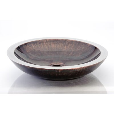 Circular Vessel Bathroom Sink Sink Finish: Brown Black
