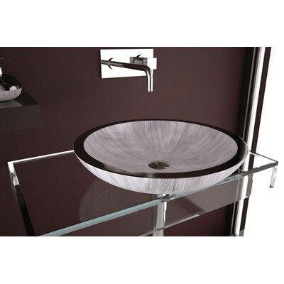 Circular Vessel Bathroom Sink Sink Finish: White Silver