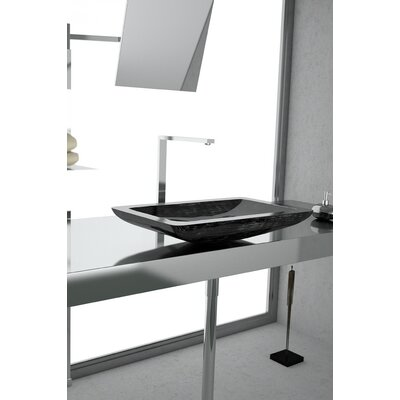 Vogue Rectangular Vessel Bathroom Sink Sink Finish: Black Silver