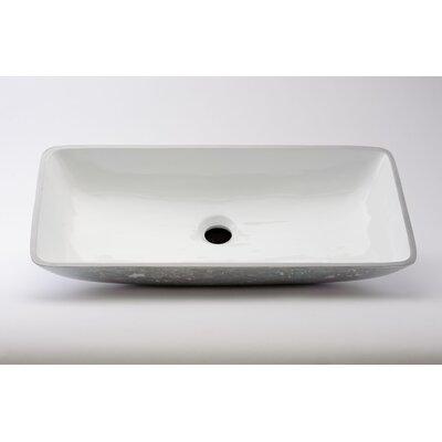 Nek Lux Rectangular Vessel Bathroom Sink Sink Finish: White Silver
