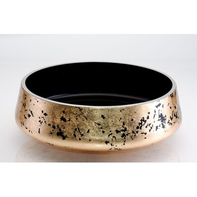 Exte Lux Circular Vessel Bathroom Sink Sink Finish: Black-Gold