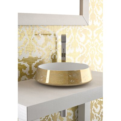 Exte Lux Circular Vessel Bathroom Sink Sink Finish: White-Gold