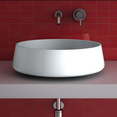 Exte Circular Vessel Bathroom Sink Sink Finish: White Polish