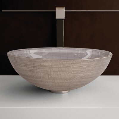 Atelier Glass Circular Vessel Bathroom Sink Sink Finish: Ivory / Brown