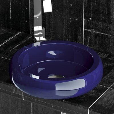 Zero Glo Ball Shiny Circular Vessel Bathroom Sink Sink Finish: Cobalt