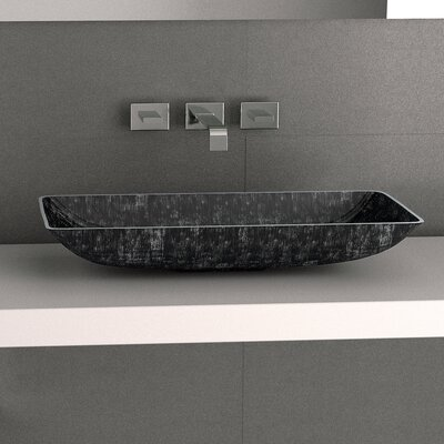 Nek Metal Rectangular Vessel Bathroom Sink Sink Finish: Black Silver