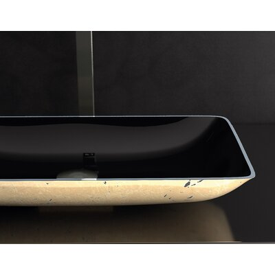Nek Metal Rectangular Vessel Bathroom Sink Sink Finish: Black Gold