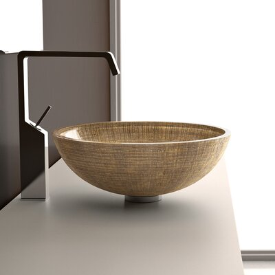 Atelier Glass Circular Vessel Bathroom Sink Sink Finish: Gold / Silver
