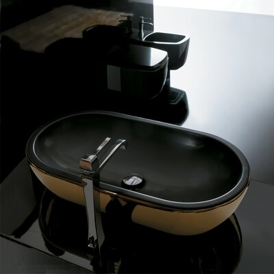 Midas Oval Vessel Bathroom Sink Sink Finish: Gold/Black