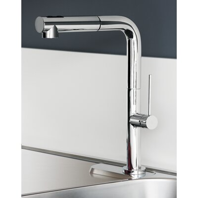 Slim Pull Out Single Handle Kitchen Faucet Finish: Brushed Nickel