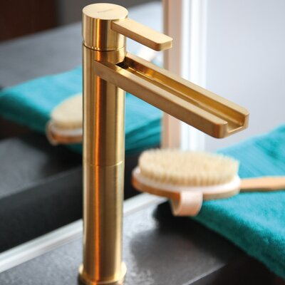 Single Hole Waterfall Faucet Finish: Brushed Gold