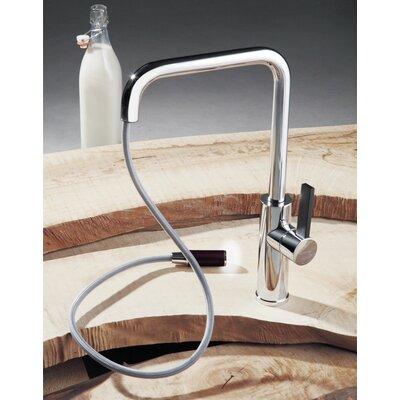 Luz Pull Out Single Handle Kitchen Faucet Finish: Brushed Nickel