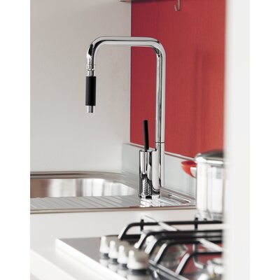 Single Handle Deck Mounted Kitchen Faucet with Orientable Head Finish: Brushed Nickel
