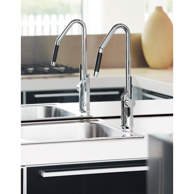 Single Handle Deck Mounted Kitchen Faucet with Orientable Shower Finish: Brushed Nickel