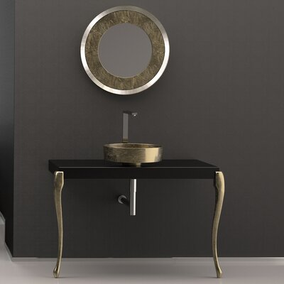 Musa Square Vessel Bathroom Sink Sink Finish: Black/Gold
