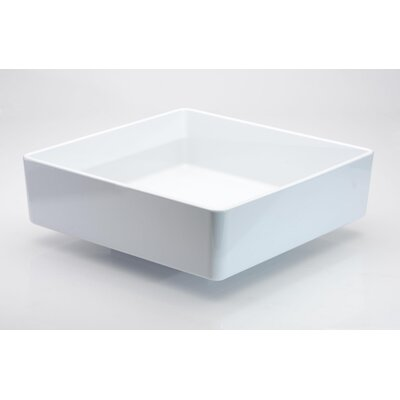 Four Square Vessel Bathroom Sink Sink Finish: White