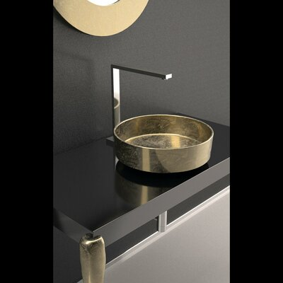 Rho Lux Leaf Circular Vessel Bathroom Sink Sink Finish: Gold Leaf