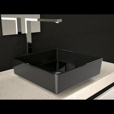 Four Square Vessel Bathroom Sink Sink Finish: Black