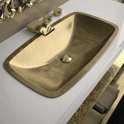 Open Rectangular Vessel Bathroom Sink Sink Finish: Gold Leaf