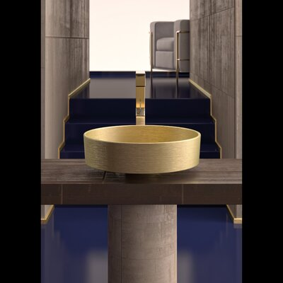 Rho Circular Vessel Bathroom Sink Sink Finish: Brushed Gold