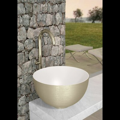 Cocoon Circular Vessel Bathroom Sink Sink Finish: Brushed Dark Inox White