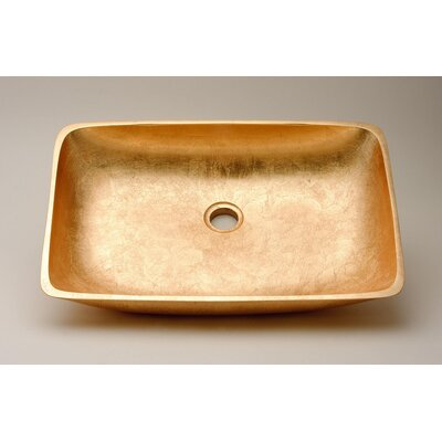 Vetro Freddo Net Rectangular Vessel Bathroom Sink Sink Finish: Gold Leaf