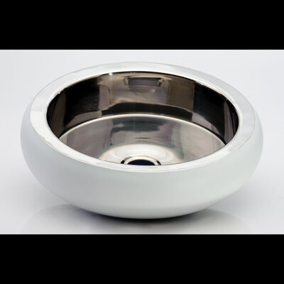 Zero Glo Ball Ultra Circular Vessel Bathroom Sink Sink Finish: Shiny Steel White