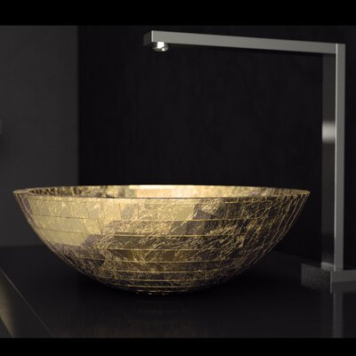 Circular Vessel Bathroom Sink Sink Finish: Gold Leaf