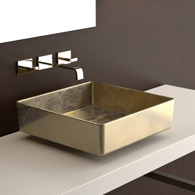 Four Lux Leaf Square Vessel Bathroom Sink Sink Finish: Silver Leaf