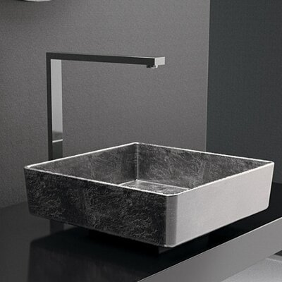 Four Lux Leaf Square Vessel Bathroom Sink Sink Finish: Gold Leaf