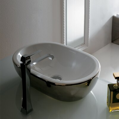 Midas Oval Vessel Bathroom Sink Sink Finish: Platinum/White