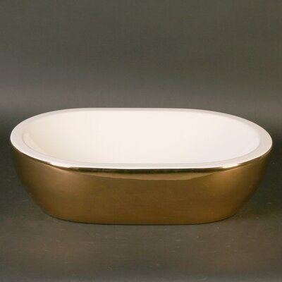 Midas Oval Vessel Bathroom Sink Sink Finish: Satin Gold / White