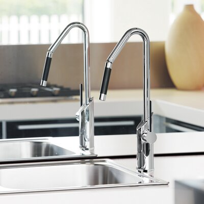 Single Handle Deck Mounted Kitchen Faucet with Orientable Shower Finish: Chrome