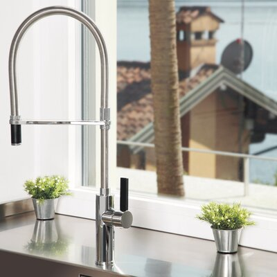 Single Handle Deck Mounted Kitchen Faucet with Pull Out Mono Shower Finish: Chrome