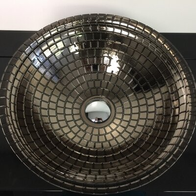 Atelier Mosaic Glass Circular Vessel Bathroom Sink Sink Finish: Platinum
