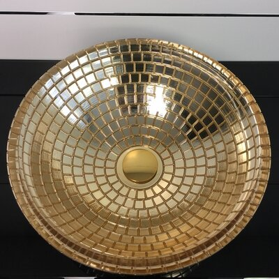 Atelier Mosaic Glass Circular Vessel Bathroom Sink Sink Finish: Gold