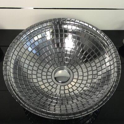 Atelier Mosaic Glass Circular Vessel Bathroom Sink Sink Finish: Black Metal