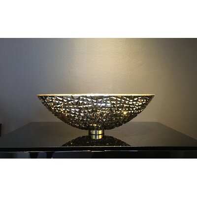 De Medici Ice Crystal Oval Vessel Bathroom Sink Sink Finish: 24 kt Gold