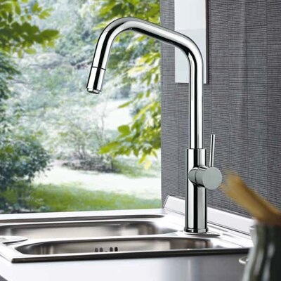 Mitu Modern Single Handle Pull Out Standard Kitchen Faucet with Mono Shower Finish: Brushed Chrome