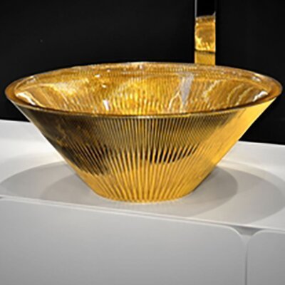 Tekno Luxury Circular Vessel Bathroom Sink Sink Finish: 24 kt Gold