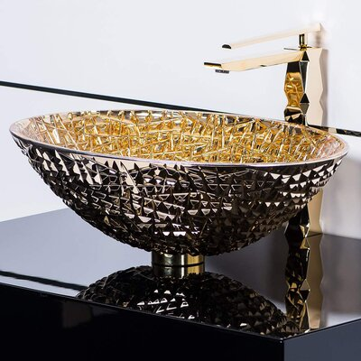 De Medici Oval Vessel Bathroom Sink Sink Finish: 24 kt Gold
